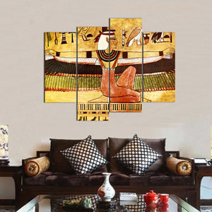 4 Panel Abstract Wall Art Painting Egyptian Woman Canvas Painting For Living Room Home Decor