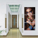 HD Printed 3 Piece Art American Indian Canvas Feathered Painting Wall Pictures Hanging Corridor