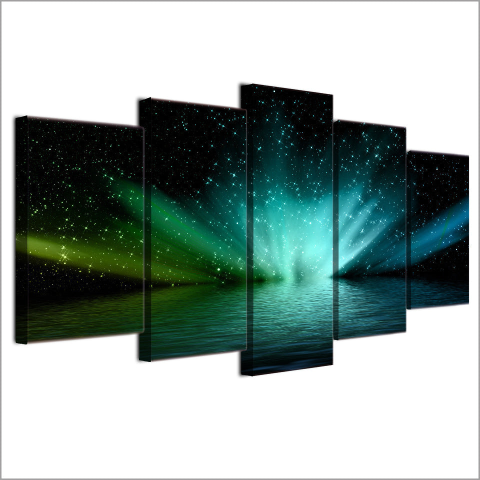 HD Printed 5pc Canvas Art Saurora Borealis Landscape Painting