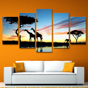 Modern Wall Art Canvas Printed Painting Pictures 5 Pieces African Animal Giraffe Elephant Sunset Landscape Poster