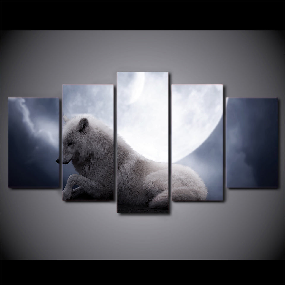 HD Printed Pictures Wall Art Canvas Painting 5 Pieces White Wolf Lying Down Under Moon Night Poster