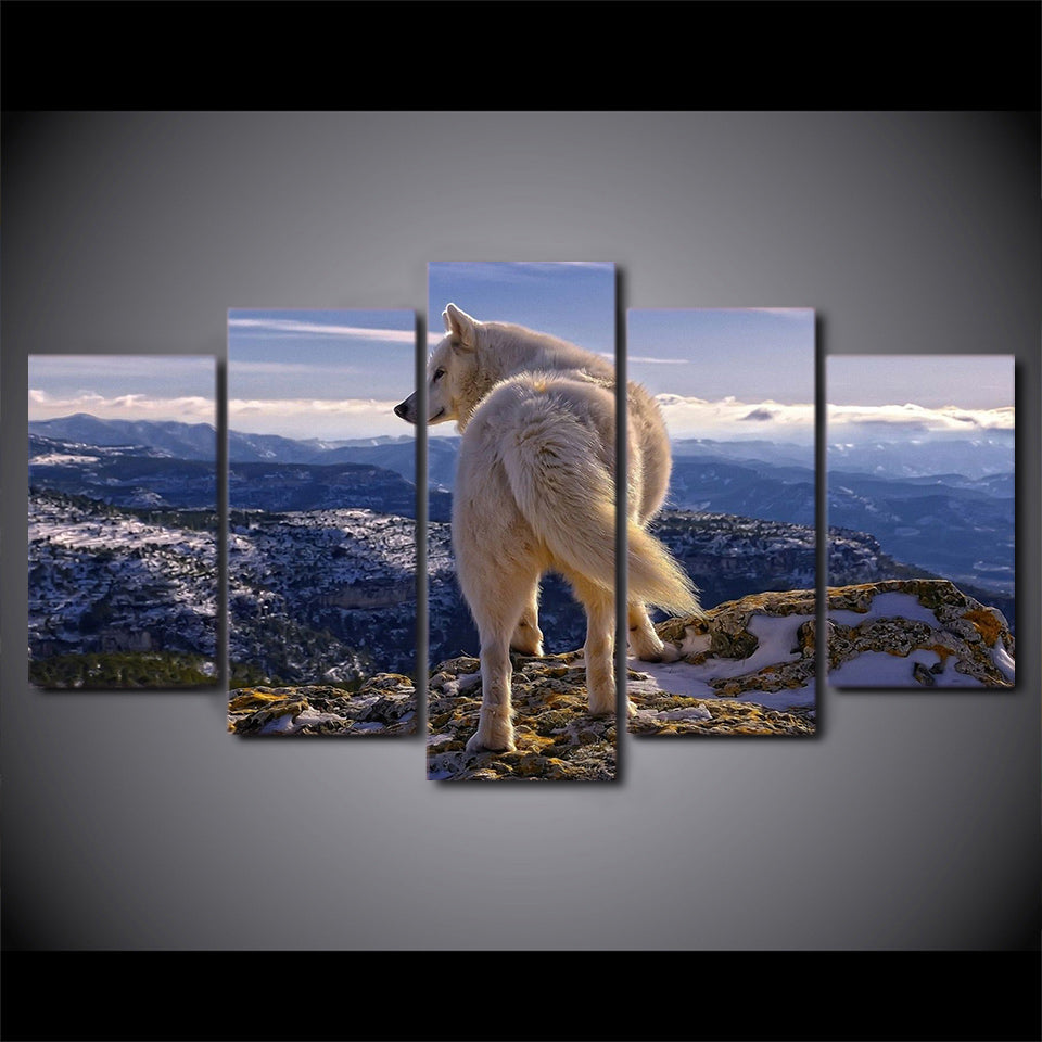 Wall Art Canvas Pictures HD Printed Poster 5 Pieces Wild White Wolf Nature Mountain Painting