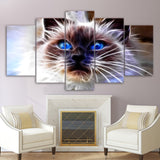 Modular Canvas Wall Art Pictures HD Printed Posters 5 Pieces Animal Cat Abstract Modern Paintings