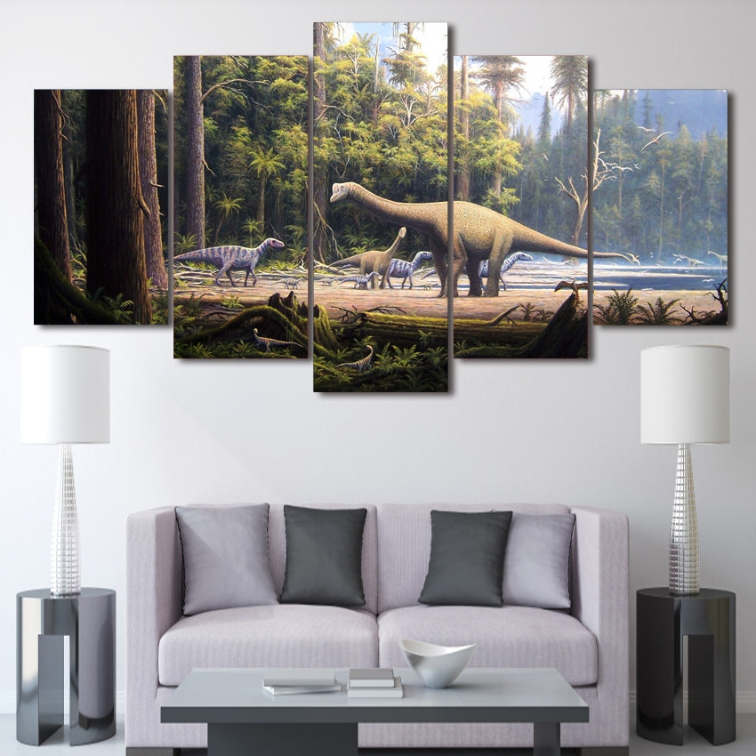 Modern Canvas Painting Wall Art Abstract Pictures 5 Pieces Dinosaur Animal Forest Landscape Poster