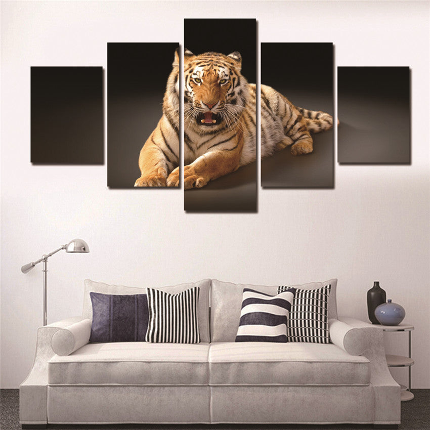 Printed Landscape Modular Picture Canvas Print Painting 5 Panel Animal Tiger Poster Wall Art