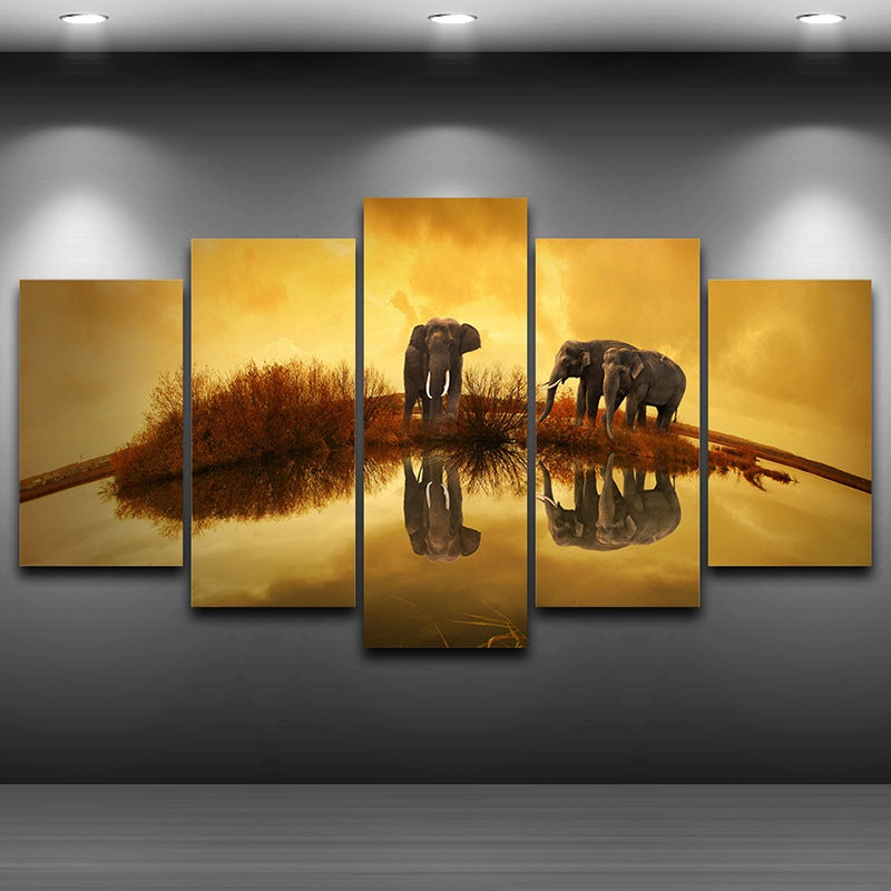 Canvas Wall Art Pictures Landscape Print Modular Painting 5 Panels Modern Animal Elephants Poster