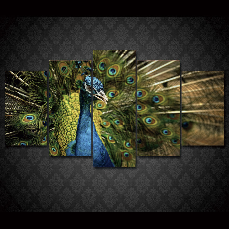 Canvas Wall Art Decor Wall Art Canvas Paintings 5 Pieces Peacock Splendid Tail Wall Modern Painting