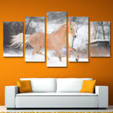 Canvas Painting Wall Poster In Modular Print 5 Panel The Horse On The Snow Cuadros Decoration Pictures