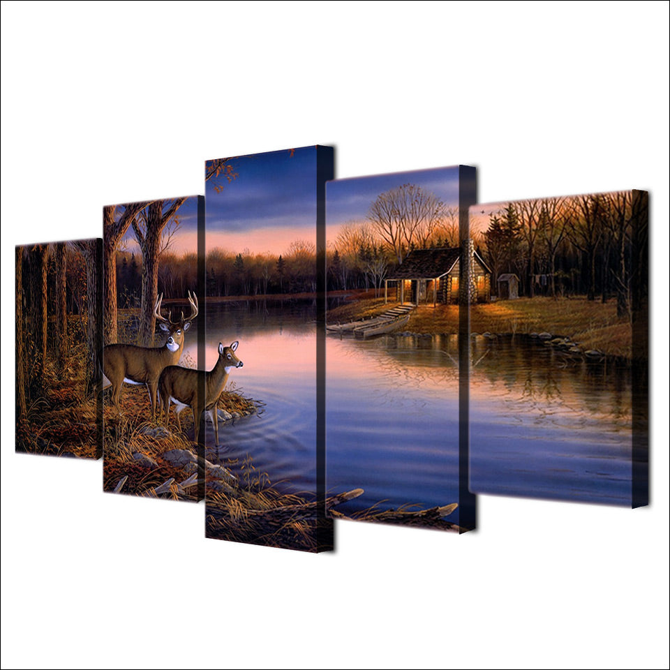 Modern HD Prints Pictures Wall 5 Piece Deer Lake Sunset Nature Landscape Canvas Painting