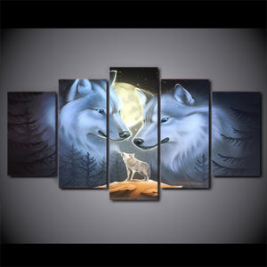 Canvas HD Prints Poster 5 Pieces Full Moon Night Animal Wolves Painting Landscape Pictures