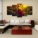 Modern HD Printed Canvas Painting 5 Pieces Fire Girl With Animal Deer Poster Wall Art Oil Pictures