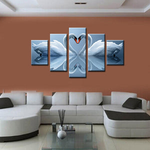 Wall Art Pictures Canvas Art Poster Print Painting 5 Panel Animal Love Swan HD Photo