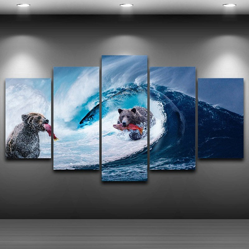 Modern Abstract Photo Pictures Room Wall Art 5 Panel HD Poster Bears Sea Wave Giant Fish Canvas Painting