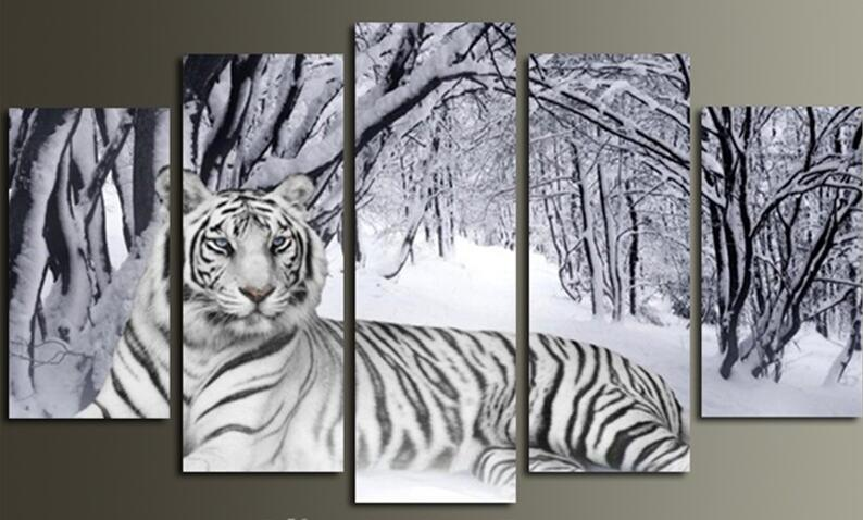 5 Panel Forest White Tiger Snow Scenery Modern Canvas Picture Art HD Print Painting On Canvas