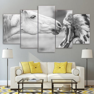 Canvas Abstract Painting Wall Art HD Printed Oil Poster 5 Panel White Horse And Indians Modular Pictures