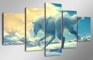 5 Panel Animal Ferret Snow Wolf Snow Fox Running In The Snow Canvas Picture Art HD Print Painting Canvas Art