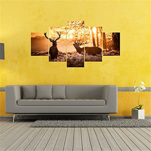 5 Panel Wild Animal Elk In Winter Morning Sunlight Modern Canvas Picture Art HD Print Painting On Canvas Artwork