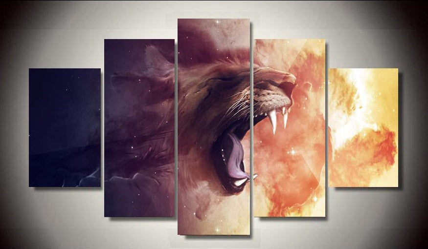 5 Panel Tiger Poster Animal Lion Modern Painting Canvas Art HD Print Painting Canvas Wall Picture