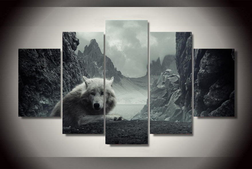 5 Panel Mountain Arctic Wolf And Snow Fox Canvas Picture Art HD Print Painting
