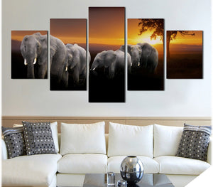 Modular Painting Poster HD Printed On Canvas 5 Panel Animal Elephants Sunset Wall Art Pictures