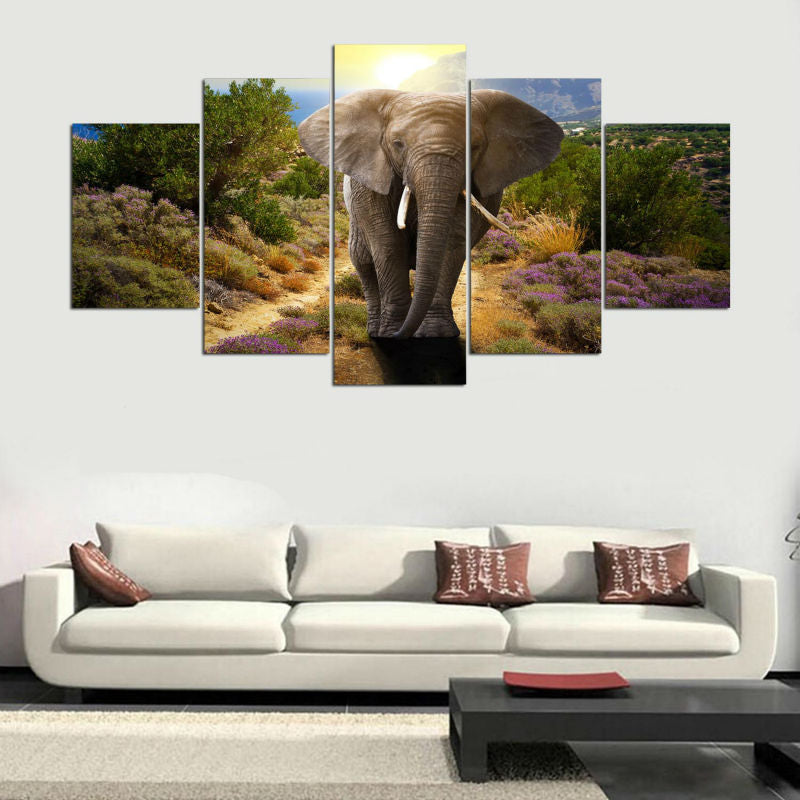 Modern Canvas Modular Picture Art HD Print Painting On Canvas Artworks 5 Panel Animal Elephant