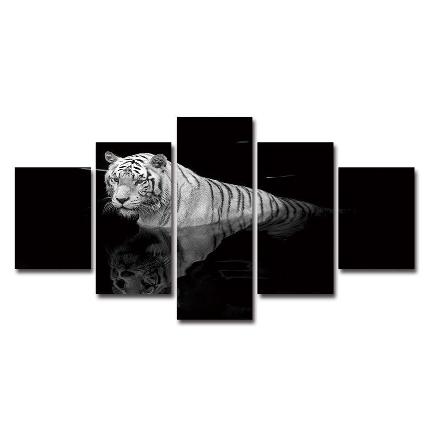Modular Animal Photo Wall Art Abstract Pictures 5 Panels Tiger Cross The River Painting HD Poster Canvas