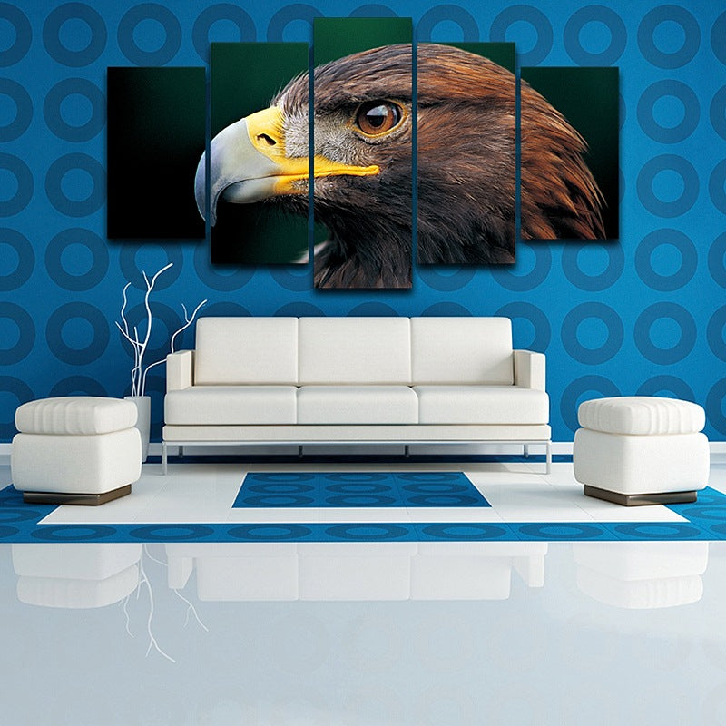 Wall Canvas Art Painting Poster 5 Panel Pictures Animal Eagle Modern HD Printed Photo