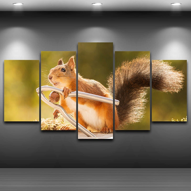 Painting Wall Art HD Printed On Canvas 5 Panel Poster Lovely Animal Squirrel Modular Pictures