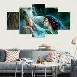 Canvas Wall Art Canvas Painting Landscape Wall Modular Pictures HD Print 5 Panel Horse And Girl