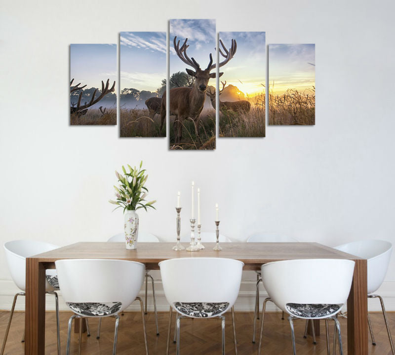 5 Panel Forest Steppe Animal Reindeers Wall Art Picture Canvas Print Wall Picture Printing On Canvas