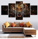 Large Poster HD Printed Painting 5 Panel Animal Tiger Canvas Print Art Home Decor Wall Art Pictures