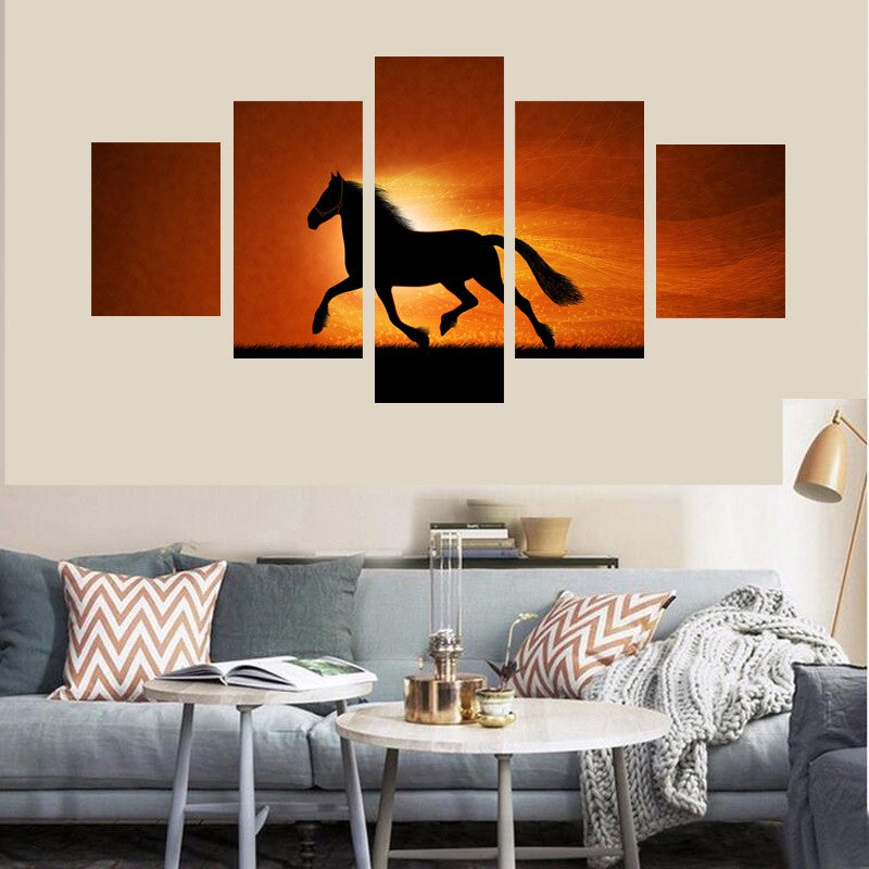 HD Print Canvas Painting Picture Wall Art Prints Poster 5 Panel Under The Sunset Of The Horse