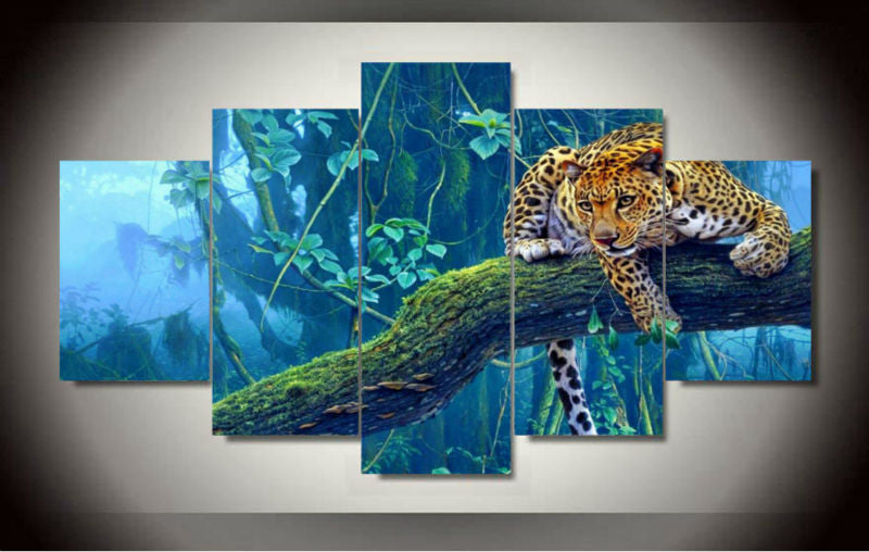 5 Panel Lying On The Tree Tropical Animal Panthera Onca Modern Home Wall Decor Canvas Picture Art HD Print Painting Canvas Art