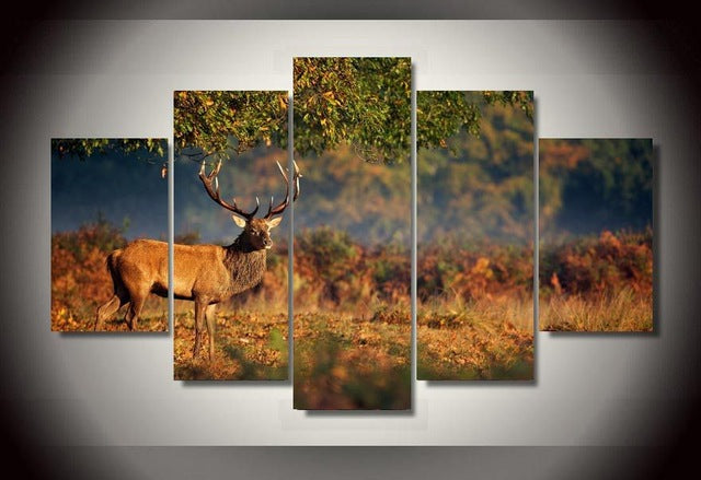 5 Pieces Forest Steppe Animal Deer Wall Art Picture Canvas Print Wall Picture Printing On Canvas