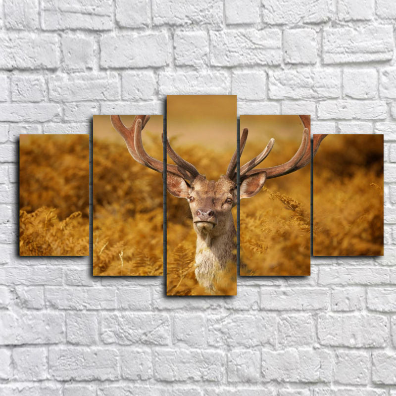 5 Panel Grassland Animal Reindeer Elk Wall Art Picture Canvas Print Wall Picture Printing On Canvas