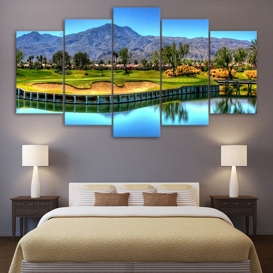 HD Printed 5 Piece Canvas Art Mountain Golf Course Painting Lake Wall Pictures