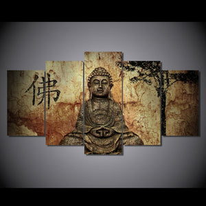 HD Print Painting Canvas 5 Panel Buddha Home Wall Decor Painting Art Wall Picture Buddha Artwork
