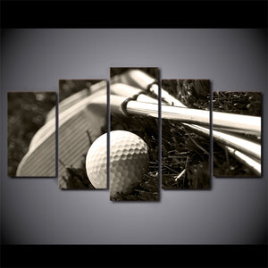 HD Printed 5 Piece Canvas Art Golf Clubs And Ball Picture Painting Wall Pictures