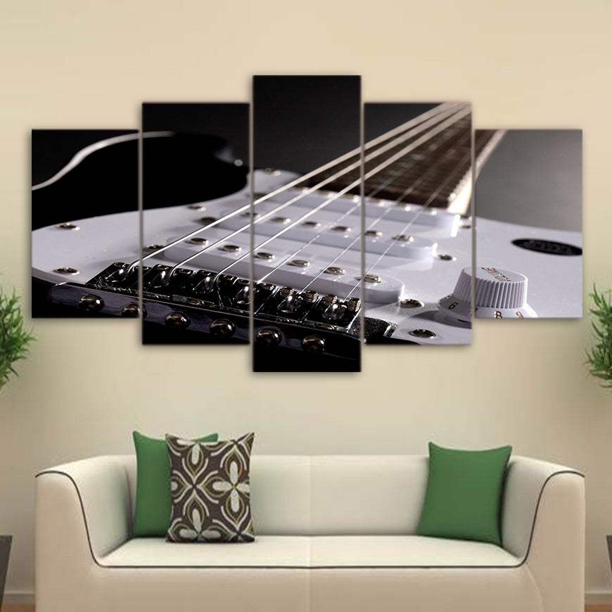 HD Printed Canvas Posters 5 Pieces Wall Art Electric Guitar String Paintings Musical Instruments Pictures
