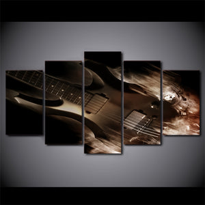 HD Printed Pictures Wall Art Canvas Paintings 5 Pieces Abstract Classical Electric Guitar Posters