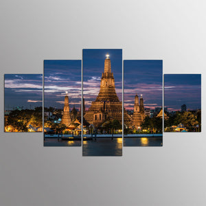Modern Canvas Abstract Wall Art Poster Pictures 5 Pieces Wat Arun Temple Of Dawn Landscape Painting
