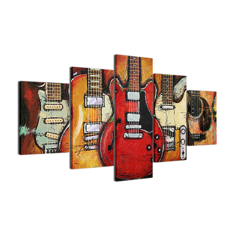 Modern Canvas Painting HD Printed Wall Art Modular Pictures 5 Pieces Abstract Guitar Music Poster
