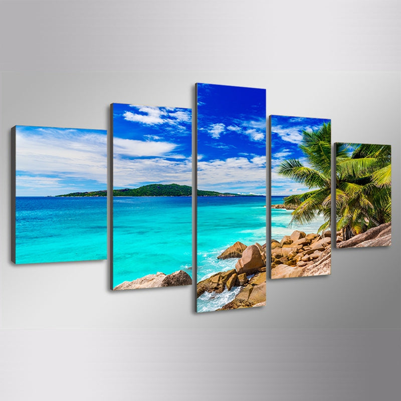 Modern Canvas Art Painting HD Printed Wall Art 5 Pieces Pictures Summer Beach Sea Shore Seascape Poster