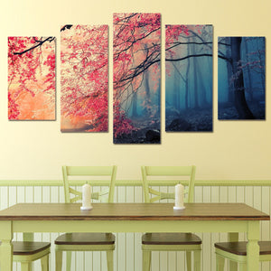 Modular Pictures Wall Art Canvas Painting Decor 5 Pieces Red Trees Forest Landscape Poster HD Print