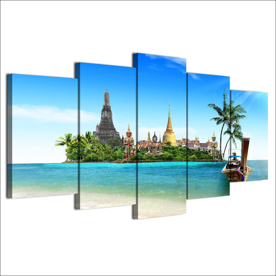 HD Printed Canvas 5 Pieces Tropical Island Pictures Wall Art Thailand Pattaya Buddha Posters