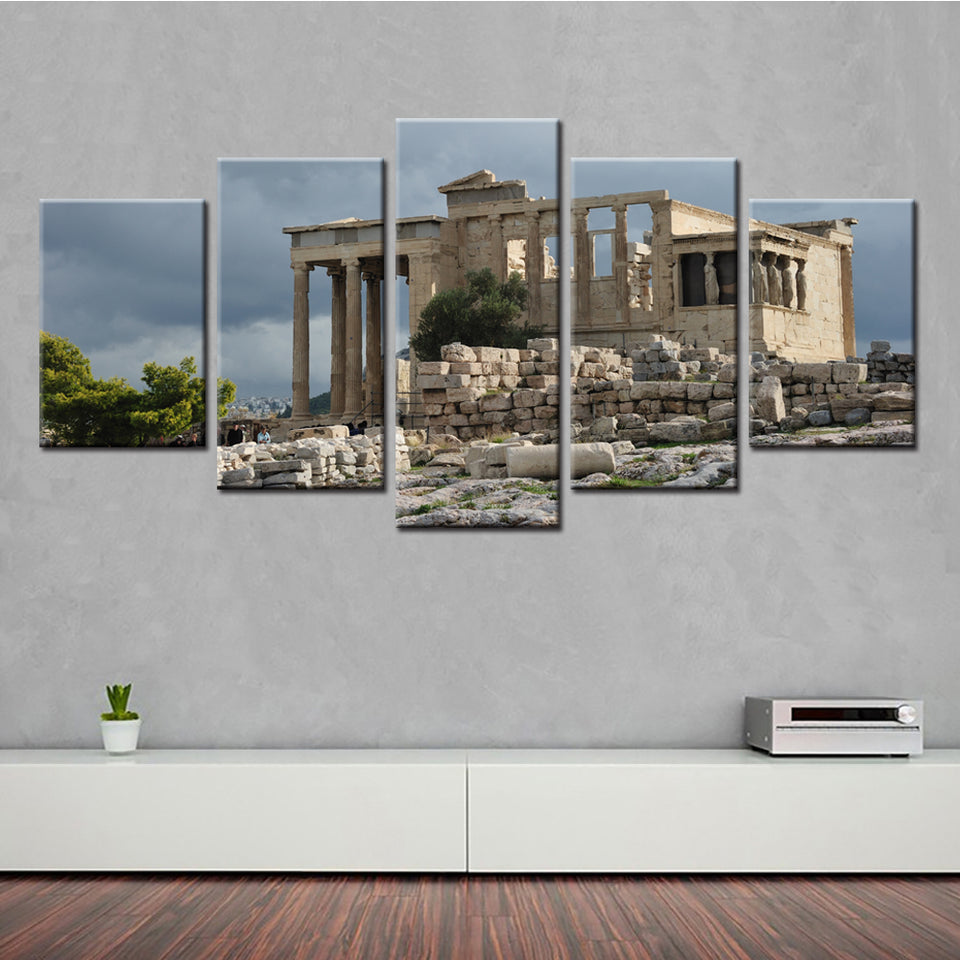 Modular Pictures Canvas HD Printed Wall Art Posters 5 Pieces Home Decor Ruins Landscape Retro Building Paintings