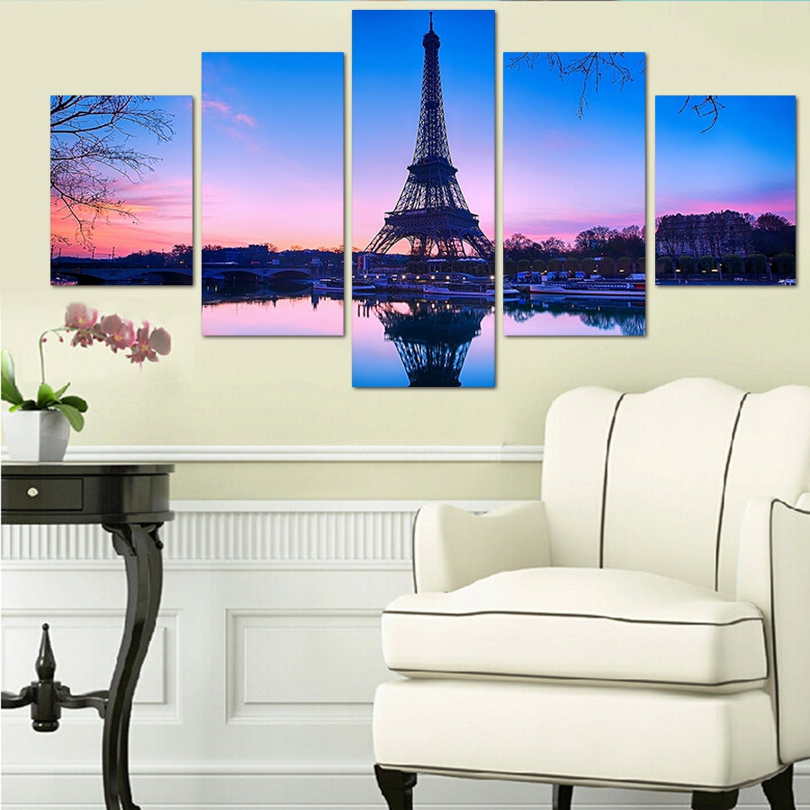 Canvas Wall Art Decor Pictures HD Printed 5 Pieces Paris Eiffel Tower Poster Sunset Landscape Painting