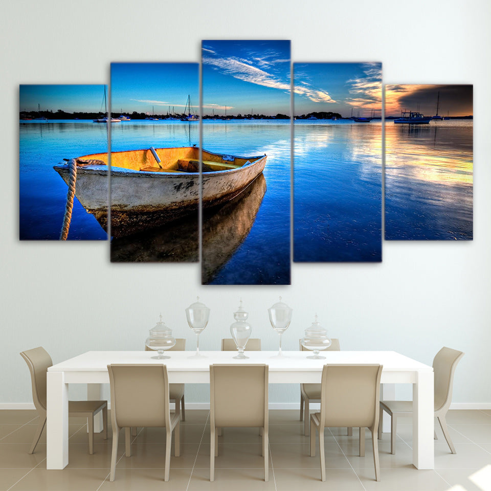 HD Printed Canvas Wall Art Pictures 5 Pieces Floating Boat Paintings For Living Room Nature Blue Lake Posters