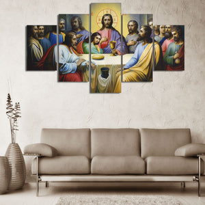 Modular Pictures HD Printed Canvas Jesus Painting Wall Art 5 Pieces Last Supper Landscape Poster