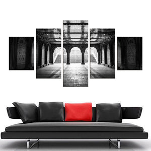 Modular Abstract Pictures Wall Art HD Print Poster 5 Pieces Castle Building Canvas Painting